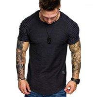 Camisetas para hombre Hombro para hombre Diseño Plisado Plisado Cuello redondo Cuello redondo Camiseta de manga corta Slim Fit Hombre Curvado dobladillo flaco Hip Hop Tshirt Streetwear1