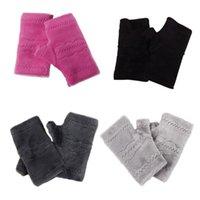 Fem fingrar handskar kvinnor män solid fingerlös fleece vinter höst tjockt varmt tangentbord läcka finger