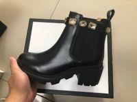 Moda Designer Designer Boots Martin Desert Boot Flamingos 100% Vera Medaglia di cuoio Grossata antiscivolo Scarpe invernali Ace Stivali ACE