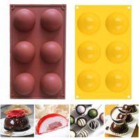6 ثقوب سيليكون قالب للشوكولاته كعكة جيلي مهلبية اليدوية الصابون جولة شكل نصف المجال العفن غير عصا كب كيك قوالب الخبز CCA12659