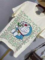 Футболка Doraemon с коротким рукавом женщины 2021 ранняя весна Новый Dingdang Maona Цветочные круглые шеи