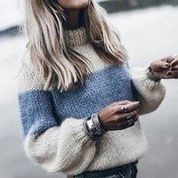 가을 겨울 여성 느슨한 니트 스웨터 긴 소매 O 넥 패치 워크 풀오버 스웨터 여성 2019 패션 따뜻한 옷 T200814