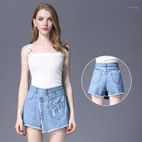 Kadın Şort Teaegg Yaz Kadın Denim Patchwork Delik Artı Boyutu Pamuk 2021 Pantalones Cortos Mujer Algod N Azul1