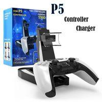 Denetleyiciler Chargers PlayStation 5 PS5 Oyun Denetleyicisi Çift Bağlantı Noktası Şarj Dock Standı Station LED Gösterge Şarj Depolama Tabanı