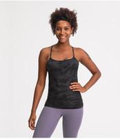 Sexy Backbloble Йога Топы с бюстгальтером Lu-60 Сплошные цвета Женщины Мода Открытый Йога Танкины Спорт Беговые Тренажерный зал Рубашка Одежда