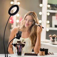 6 inch Live Fill Lights Desktop Clip Light 2835 Lamp Beads White Light Usb Connection Dimmable Selfie Ring Light with Phone Holder