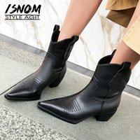 ISNOM Western Ankle Boots Cowboy Women Booties Fashion Pointed Toe Shoes Female Thick Heels Cuban Ladies Autumn Winter Boots 201126