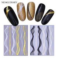 Adesivos Decalques Nicole Diário Nail Art Adesivo Auto-adesivo Metal Liso Reta Linha de Onda Fita Fita Fita 3D Diy Decalação Decorações