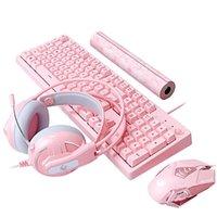 Conjuntos de jogos mecânicos Teclado Mouse Headset Combos Rosa Teclado Mecânico 3200 DPI Fone de Ouvido Optical Rato