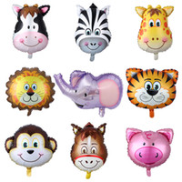 Großhandel Cartoon Tierkopf Ballons 50pcs / lot Aluminiumfolie Ballon Baby Spielzeug Ballons Geburtstagsfeierdekorationen