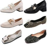 2021 Mode High Heels Designer Original Frauen Party Hochzeit Schuhe Triple Schwarz Nude Weiße Schmetterling dicke Ferse Asakuchi Square Kopf Flaches Kleid