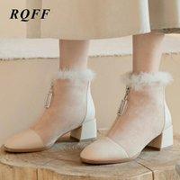 Çizmeler Siyah Sonbahar Kış Ayak Bileği Kadınlar Için Artı Büyük Boy 10 Moda Kare Yüksek Topuk Ayakkabı Kadın FUAX Kürk Kayısı Fermuar Boot