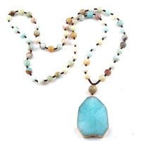 Colares Pingente Moodpc Moda Jóias Amazonite Semi Preciosas Pedras Azul Azul Mulheres Étnica Colar