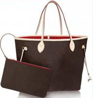 고품질 정품 가죽 산화 Neverfulls TahiTienne 핸드백 2 인 1 조합 여성 totes 가방 남자 파우치 쇼핑 숄더백
