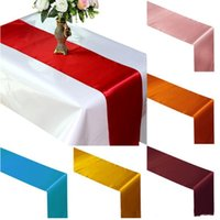 Biegacz stołowy Satynowe Biegacze stołowe do ślubu satynowej wstążki tkaniny Biegacza Flaga Bankiet ślubnych Dekory YHM540
