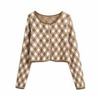 Evfer Outono Mulheres Elegante Argyle Malha Khaki Cardigans Senhoras Moda Única Breasted Za Suéteres Meninas Manga Longa Knitwear Z1123
