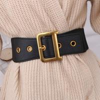 Nero Lettera Belt Donna Waist Corset Cinture per le donne Fibbia oro D Cinturon Mujer Belt Elastico ampio cummerbunds