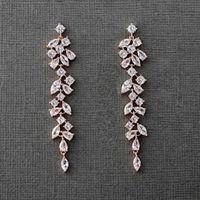 2021 Trendy Zirkonia Kristallblatt Langer Tropfen Ohrringe für Elegante Prom Party Frauen Bridal Hochzeit Schmuck Weibliche Zubehör Geschenk Al8158