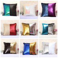 Mermaid Sequins Pillow Case Magic Reversible Sequin Cover Pillowcases Cushion Cover Office Sofa Cushion Pillow Wholesale