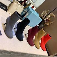 Nouveau printemps automne tricoté bottes élastiques talons minces femmes sexy chaussures chaussures haute talon bottes de mode chaussettes de mode bottes Lady talons hauts grande taille 34-41