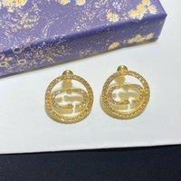 Женская ступенчатая роскошная высококачественная буква логотип круг алмаз обруч серьги 925 серебро с коробкой L-D32