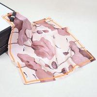 Versión coreana de los nuevos 53cm de seda de la seda Lily Flower Peony Flower Ladies Pequeñas bufandas Pequeñas bufandas Pequeña Bufanda A11