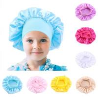 Art und Weise scherzt Normallack Bonnet Mädchen Satin Nachtschlaf Dusche Cap Hair Care Soft-Cap-Kopf-Abdeckung Wrap Mützen Schädel-Kappe für 1-6Y Baby E111803