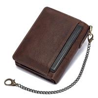Humerpaul جلد طبيعي RFID خمر الرجال محفظة مع عملة جيب قصيرة غلق بمشبك سستة سستة محافظ العلامة التجارية مع حاملي بطاقات أعلى جودة 2021