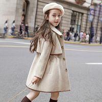 첨가장 모직 코트 가을 두꺼운 outwear 소녀 양모 재킷 어린이 긴 코트 패션 겨울 그릴 따뜻한 자켓 바람 망토 201110
