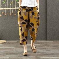 FJE İlkbahar Yaz Kadın Pantolon Artı Boyutu Elastik Bel Geometrik Pamuk Keten Harem Pantolon Vintage Baskı Gevşek Geniş Bacak Pantolon LJ201130