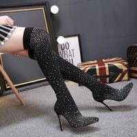 Dycly 2021 Nouvelle mode Strinestone Haute talon Chaussettes Femmes Bottes Tissu Stretch Tissu Sexy sur les bottes du genou taille 35-40