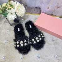 2020 nuevas mujeres diapositivas invierno pelotes zapatillas de conejo real piel cálida cómoda chancleta borrosa chanclasmiu Tamaño de los zapatos 35-40