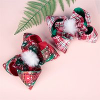 17 * 15 cm Big Bows Play Clip Christmas Plaid Girls Headwear Hairpin Bebé Niño Bobbles Lindos Barrettes Moda 4 8qn G2