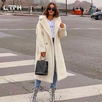 LTPH 2020 Invierno Nueva Llegada Moda Casual Simple Color Sólido Abrigo de Piel Real Mujeres Grueso Cordero Cabello Manga Larga Cashmere Chaqueta