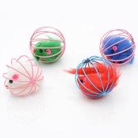 6 cm gato brinquedo bola de metal gaiola com mouse de pelúcia riscos de pele engraçado gatos rato playthings animal de estimação suprimentos 1 2cx k2