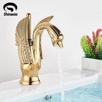 Faucets de lavatório de lavatório de pia do banheiro Faucet de bacia de cisne de ouro para embarcação e água fria Misturador de luxo Nordic Tap 12 Tipos