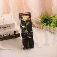 Valentine-Liebhaber-Geschenke Großhandels-Einzelgold-Blume PVC-Geschenkbox Rose-Nelke mit Goldblatt Valentine Geburtstagsgeschenk-Geschenk per See A12