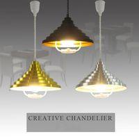 Современная мода специальная телескопическая подъемная люстра огни алюминиевая творческая пагода черный серебряный золотой трехцветный обеденный кулон