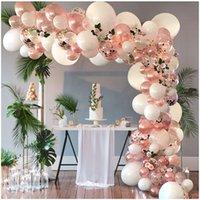 100 ADET Gül Altın Balon Kemeri Garland Kiti Gül Altın Konfeti, Beyaz Temizle Lateks Balonlar Gelin Duş Düğün, Bekarlığımalı Parti F1219