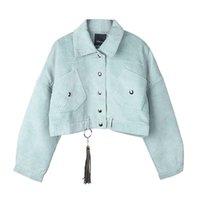 Belki U Kadın Kadife Ceket Cep Kış Sonbahar Giyim Düğmesi Püskül Siyah Gri Bluelj200813