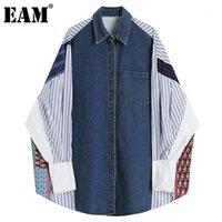[EAM] Mujeres Blye patrón de rayas Denim Big Tamaño Blusa nueva solapa manga larga floja camisa de moda Moda Primavera Otoño 2021 1DD31591