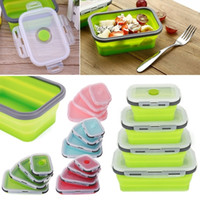 접이식 실리콘 접이식 휴대용 도시락 상자 350 / 500 / 800 / 1200ml 전자 레인지 그릇 접는 식품 저장 용기 피크닉 상자