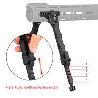 Caccia del fucile Bolt Action V9 Split BiPod Fit 21.2mm Picatinny Rail Tactical Alluminio Piedi in gomma 5 Posizionamento Angolo CL17-0045