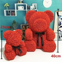 New Arrival PE Plastic Artificial Flowers Rose Bear Foam Rose Flower Teddy Bear Valentines Day Gift Birthday Party Spring Decoration