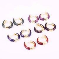 4 paia, nuovo orecchino in rame Zircone cubico a zirconi cubici multi-colore per le donne / ragazze Fashion Party Jewelry Hoop orecchino regali
