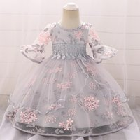 2021 Winter Clothes Baby Girl Dress Long Sleeve 2 1st Birthday Dress For Girl Frock Party Princess Baptism Dress Infant Flower Q1223