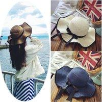 1 قطعة النساء أزياء الشمس قبعة bowknot كبيرة بريم قابلة للطي القش قبعة مرن واسعة بريم القبعات شاطئ كاب