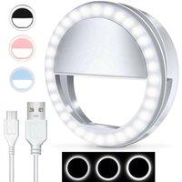 NOVITÀ Illuminazione 4 colori USB Ricarica LED Selfie Fill-In Light Light Lens Mobile Clip per la lampada da trucco