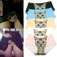 Calcinhas femininas Sexy Pussycat Impressão Cat Underwear Roupas Engraçado Feminino Anti Imps Mulheres Briefs Branco / Preto