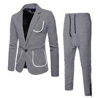 Sonbahar ve kış erkek giyim büyük vücut tek düğme erkek yaka elbise erkek takım elbise pantolon ile